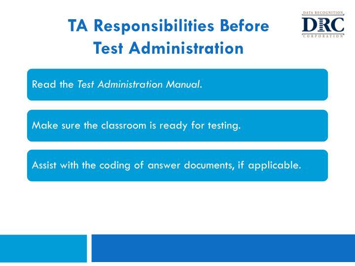 TA Responsibilities Before