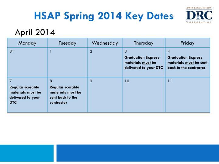 HSAP Spring 2014 Key Dates