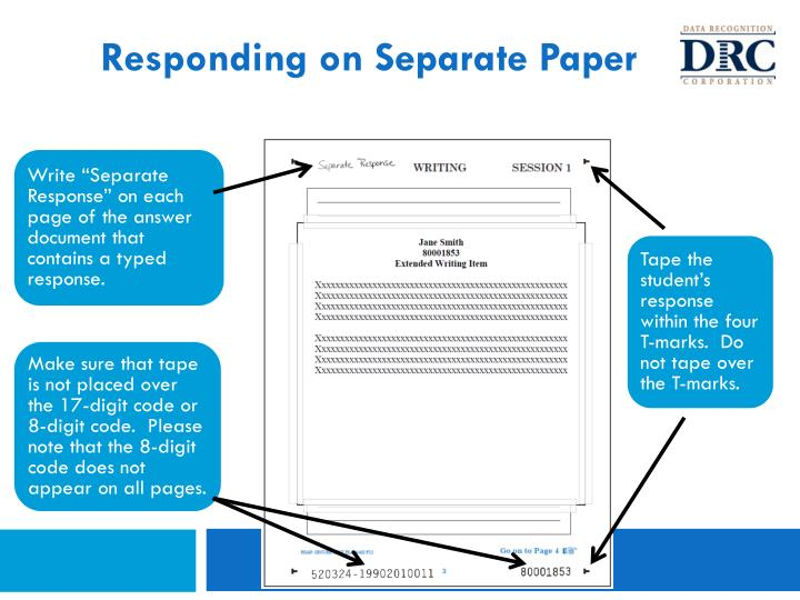 Responding on Separate Paper
