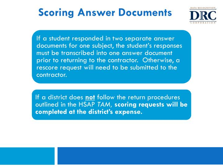 Scoring Answer Documents