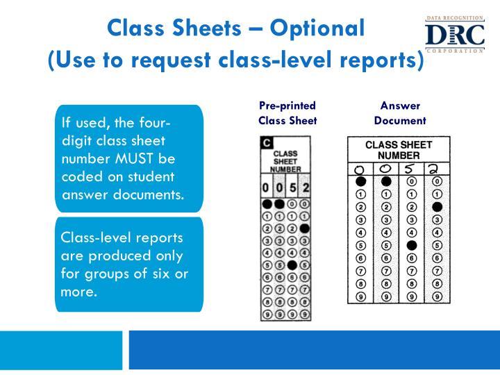 Class Sheets – Optional