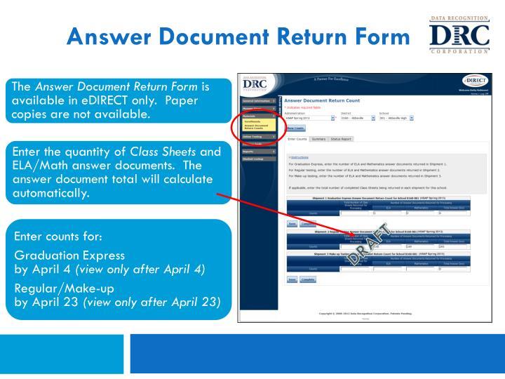 Answer Document Return Form