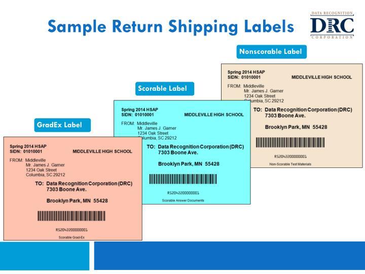Sample Return Shipping Labels