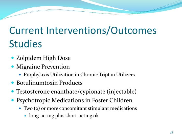 Current Interventions/Outcomes Studies