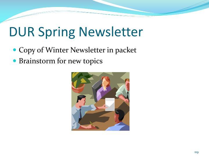 DUR Spring Newsletter