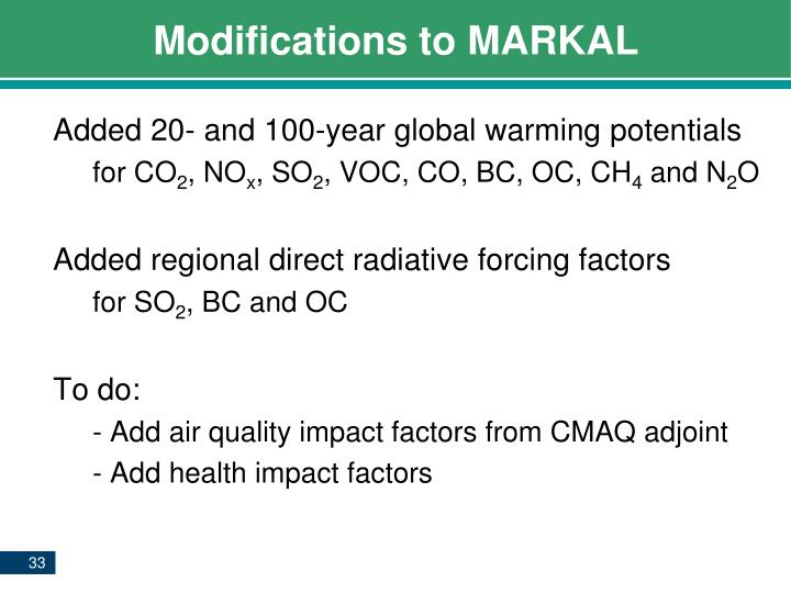 Modifications to MARKAL