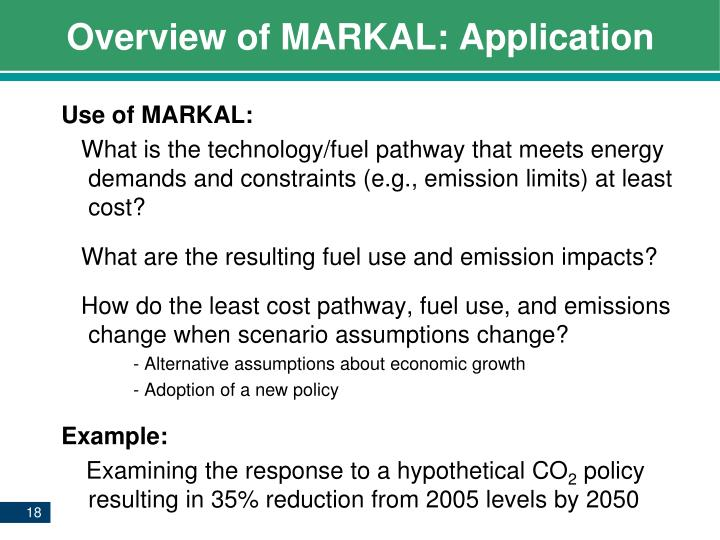 Overview of MARKAL: Application