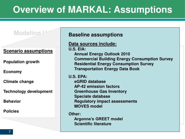 Overview of MARKAL: Assumptions