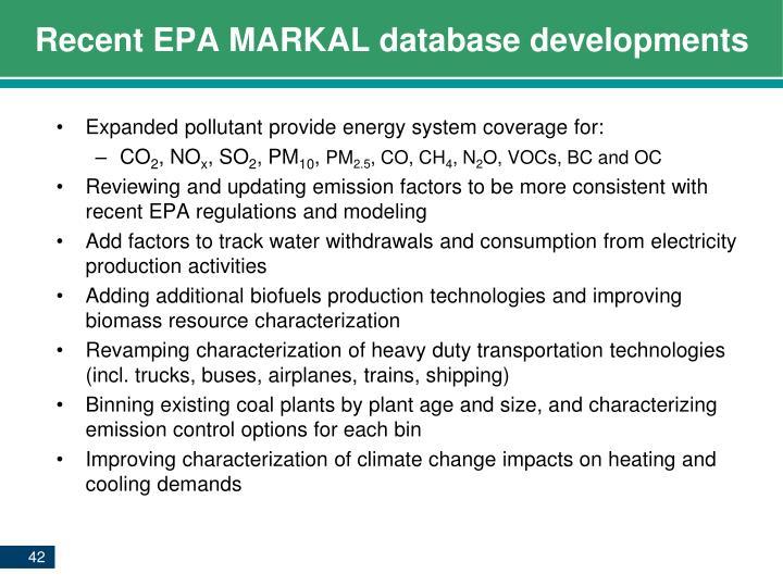 Recent EPA MARKAL database
