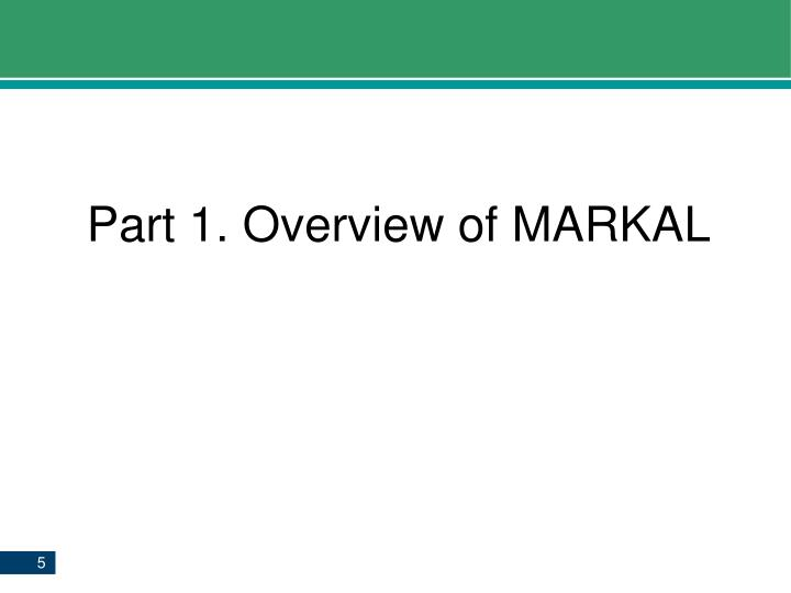 Part 1. Overview of MARKAL