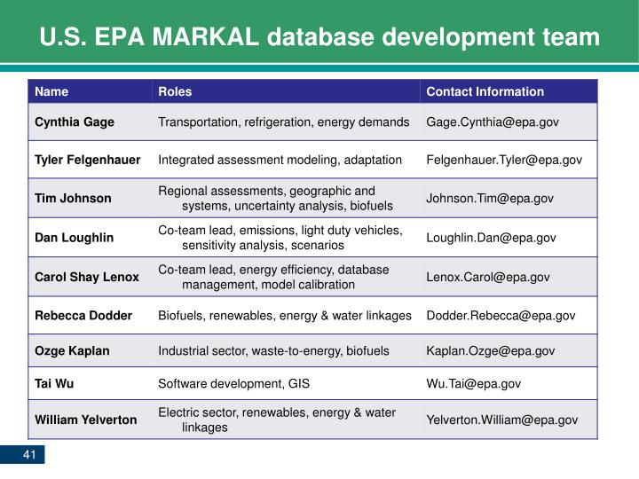 U.S. EPA MARKAL database development team
