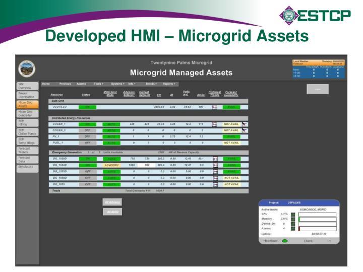 Developed HMI – Microgrid Assets