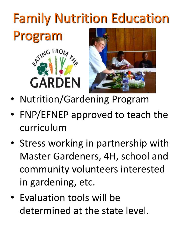 Family nutrition education program