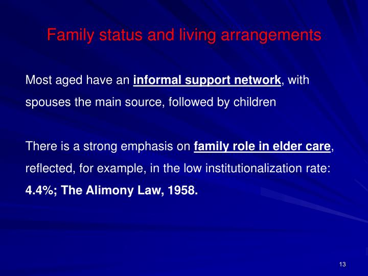Family status and living arrangements