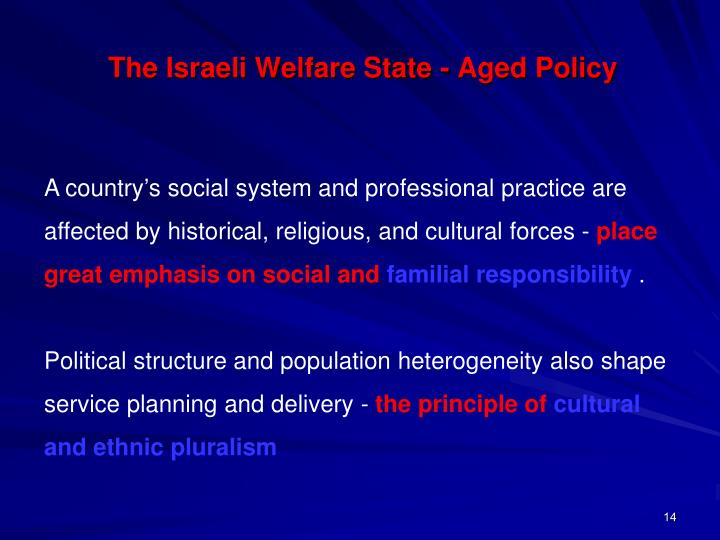 The Israeli Welfare State - Aged Policy