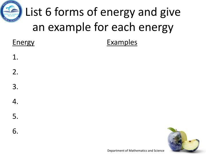 list-6-forms-of-energy-and-give-an-example-for-each-energy-n Chemical To Mechanical Energy Transformation Examples on using fossil fuels, roller coaster, natural gas, kinetic potential, sixth grade science, convergence or,