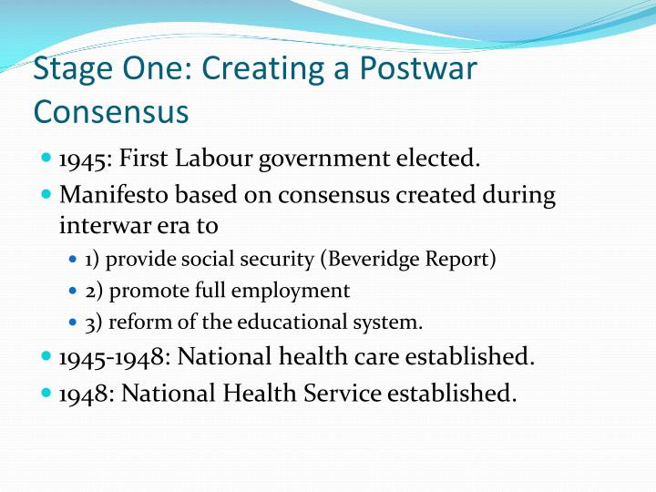 Stage One: Creating a Postwar Consensus