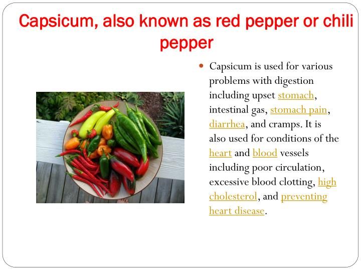 Capsicum, also known as red pepper or chili pepper
