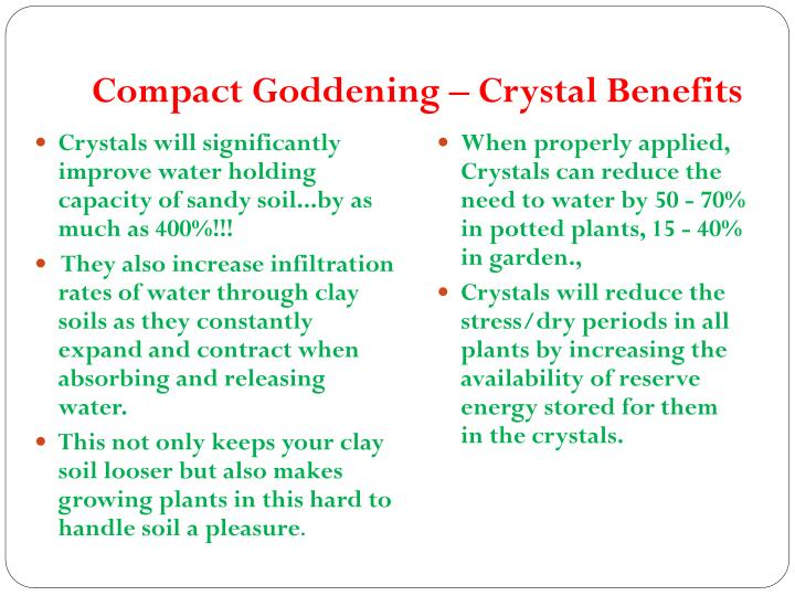 Compact Goddening – Crystal Benefits