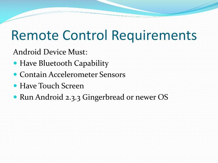 Remote Control Requirements