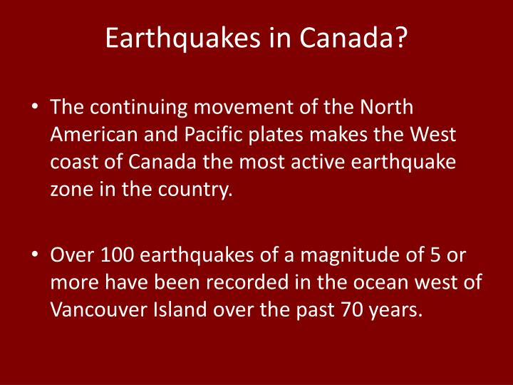 Earthquakes in Canada?
