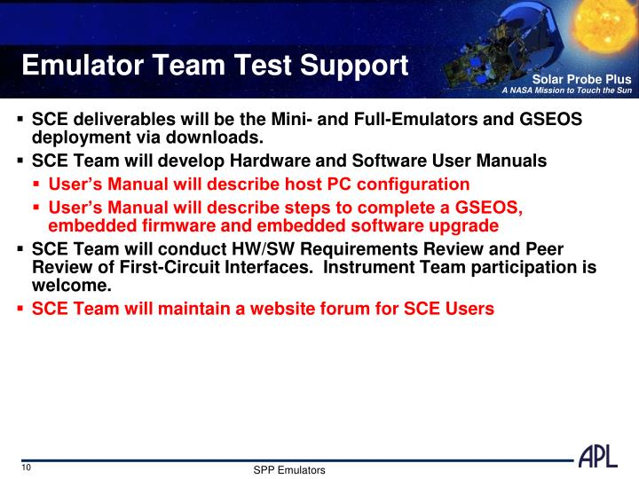Emulator Team Test Support