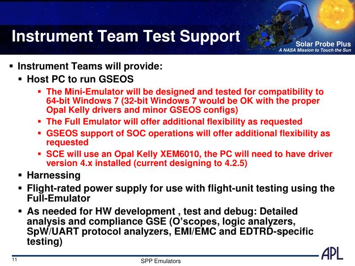 Instrument Team Test Support