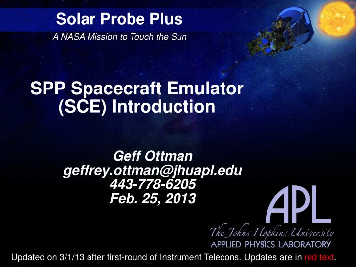 Spp spacecraft emulator sce introduction