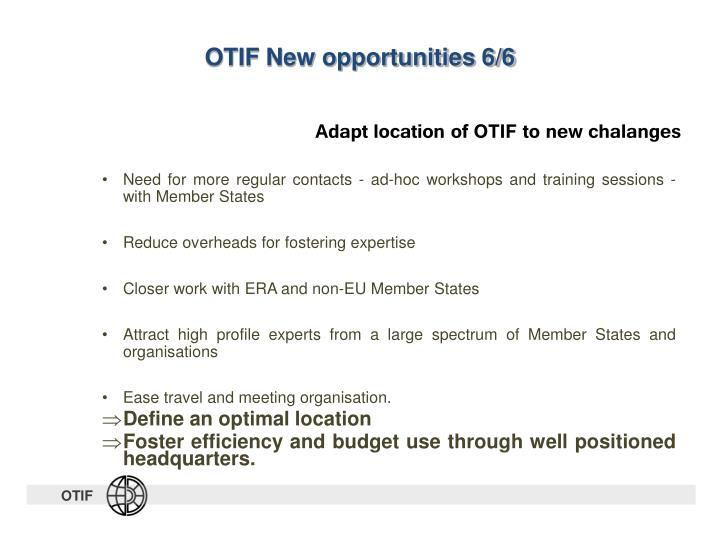 OTIF New opportunities 6/6