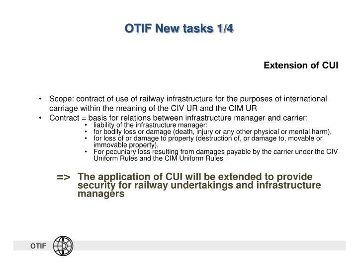 OTIF New tasks 1/4