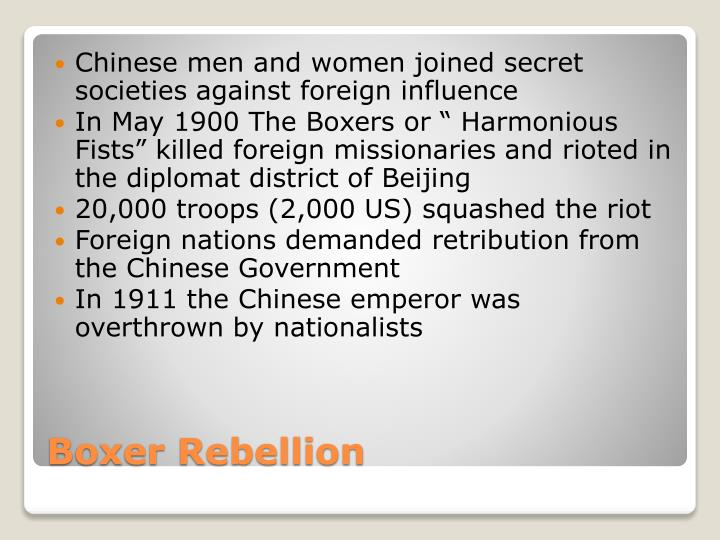 Chinese men and women joined secret societies against foreign influence
