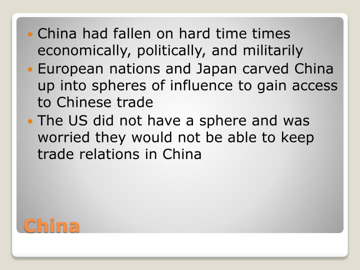 China had fallen on hard time times economically, politically, and militarily