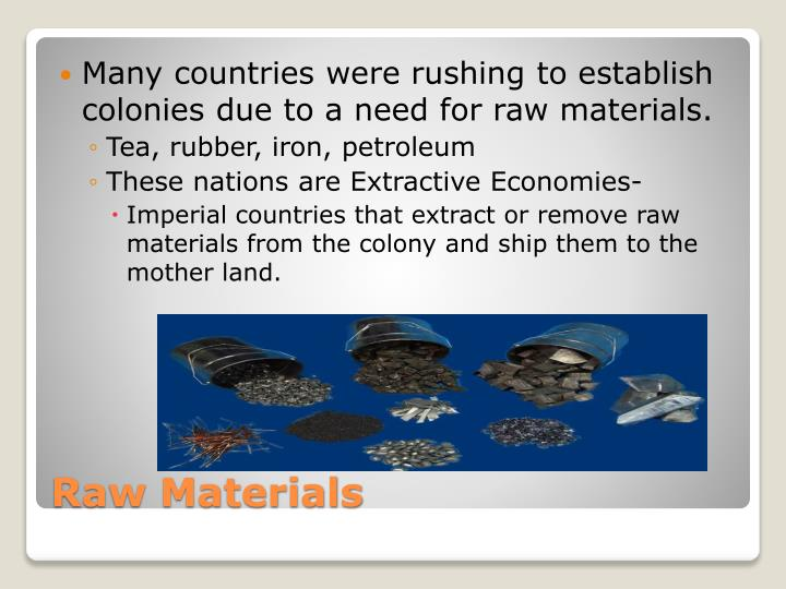 Many countries were rushing to establish colonies due to a need for raw materials.