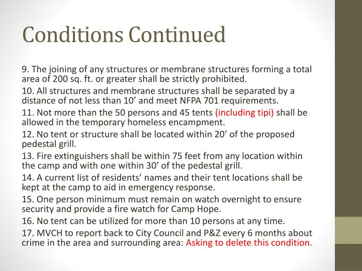 Conditions Continued