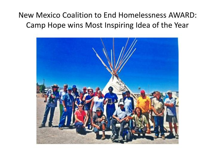 New Mexico Coalition to End Homelessness AWARD: Camp Hope wins Most Inspiring Idea of the Year