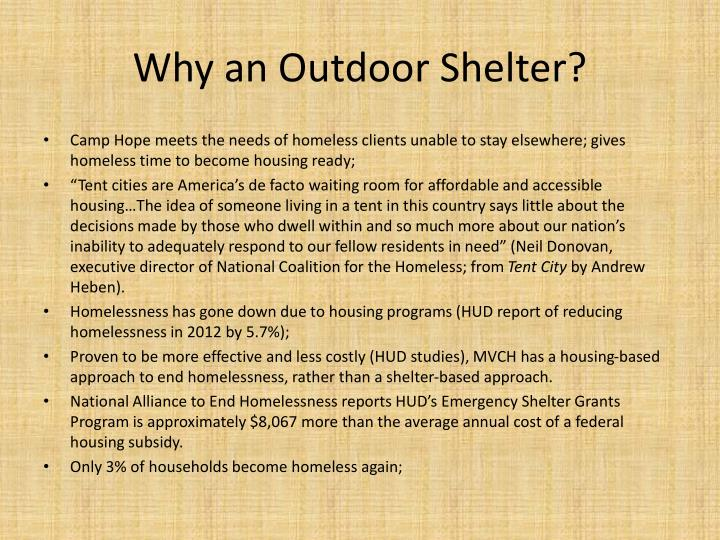 Why an Outdoor Shelter?