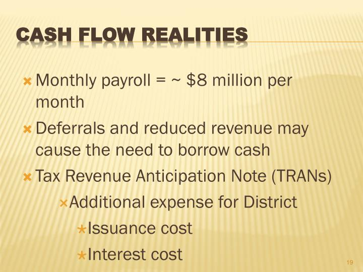 Monthly payroll = ~ $8 million per month