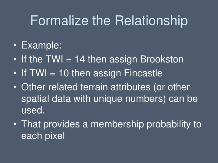 Formalize the Relationship
