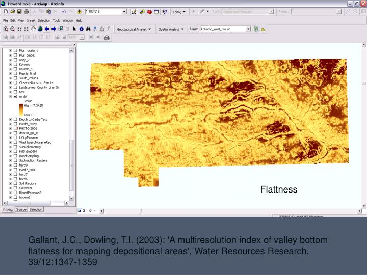 Multi-resolution index of valley-bottom flatness