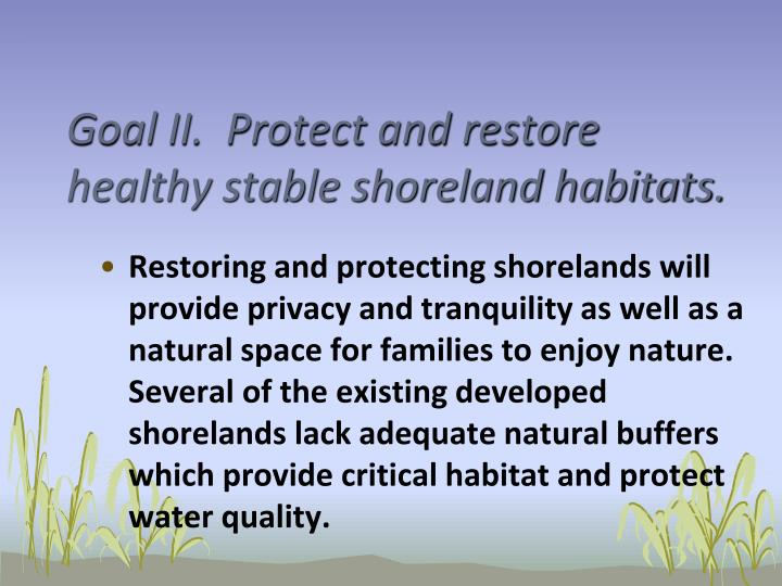 Goal II.  Protect and restore healthy stable shoreland habitats.