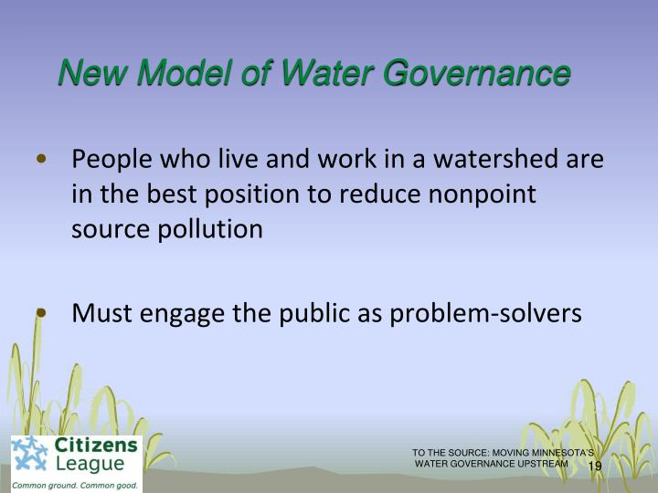 New Model of Water Governance