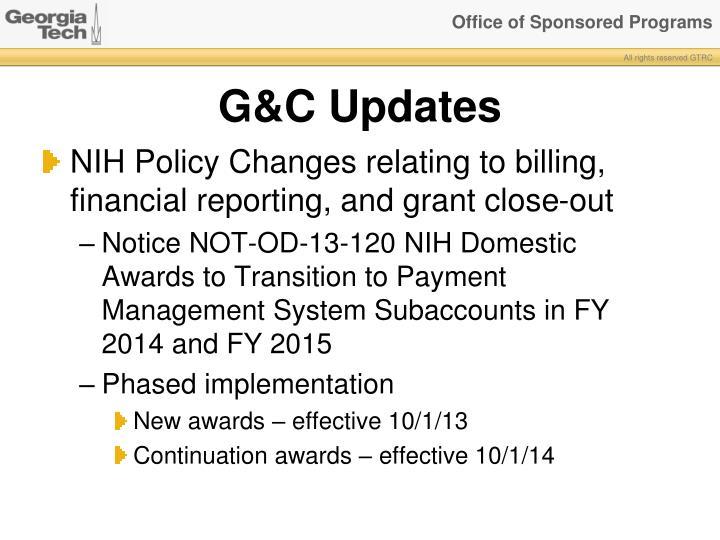 G&C Updates