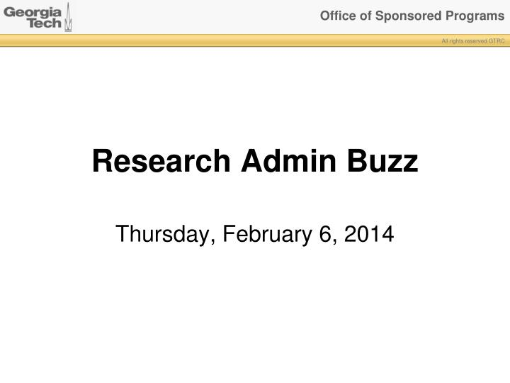 research admin buzz
