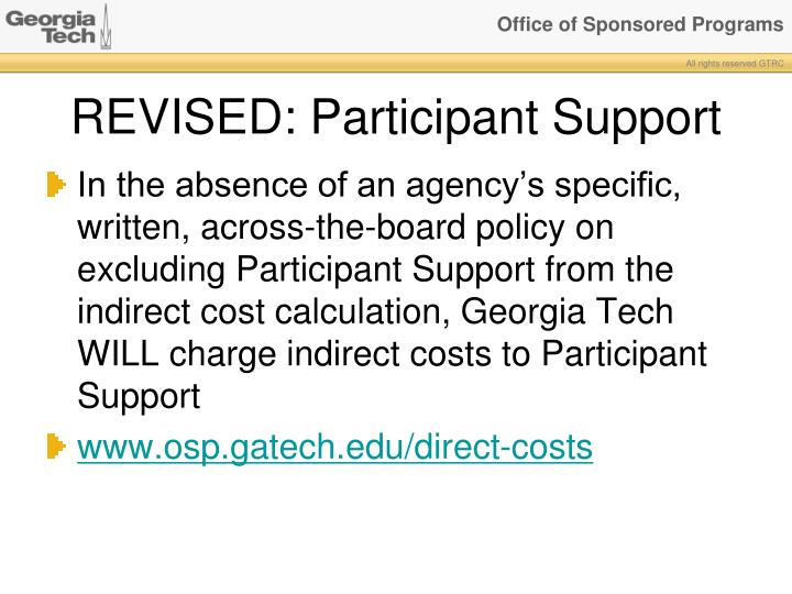 REVISED: Participant Support