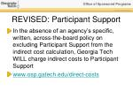 revised participant support