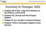 summary of changes aag