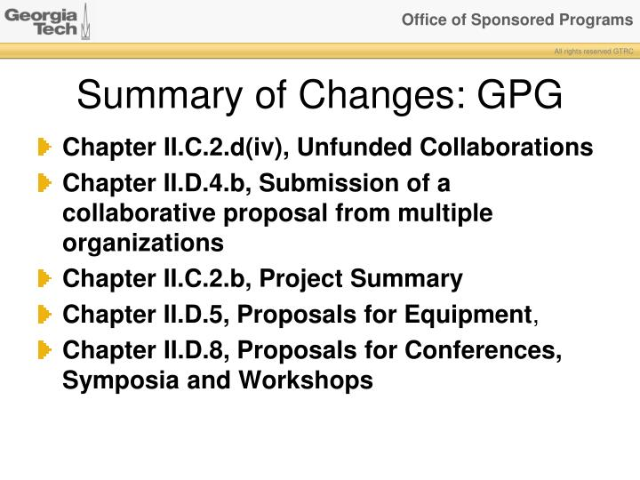 Summary of Changes: GPG