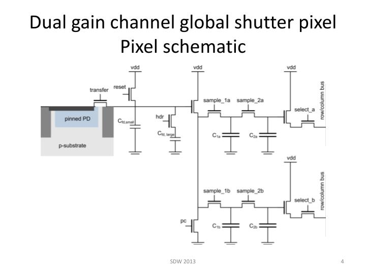 Dual gain channel global shutter pixel