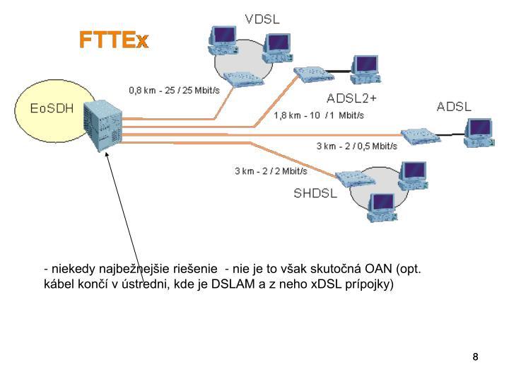 - niekedy najbežnejšie riešenie  - nie je to však skutočná OAN (opt. kábel končí v ústredni, kde je DSLAM a z neho xDSL prípojky)