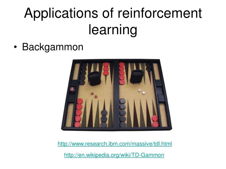 Applications of reinforcement learning